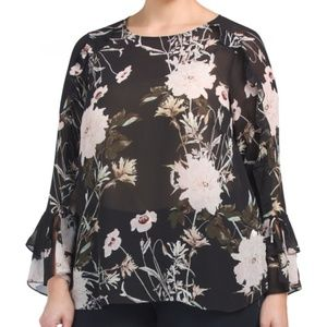 NWT LUCKY BRAND Sheer Floral Bell Sleeve Top 3X